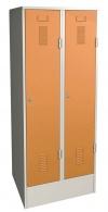 Šatní skříň plechová dvojdílná oranžová