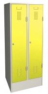 Šatní skříň plechová dvojdílná žlutá