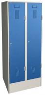 Šatní skříň plechová dvojdílná modrá