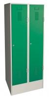 Šatní skříň plechová dvojdílná zelená