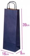 Dárková papírová taška na víno modrá