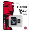 Paměťová karta 8GB micro SDHC Kingston + adaptér