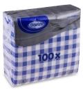 Ubrousky GASTRO 1-vrstvé 100ks modré káro