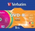 DVD-R Verbatim 4,7GB/16x 5-pack color slim